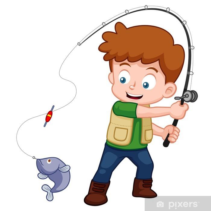 Fotobehang Illustratie van Boy Cartoon vissen • Pixers® - We leven om te  veranderen