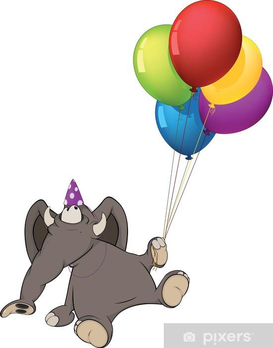 Fotobehang De Olifant Kalf En Verjaardag Ballonnen Spotprent
