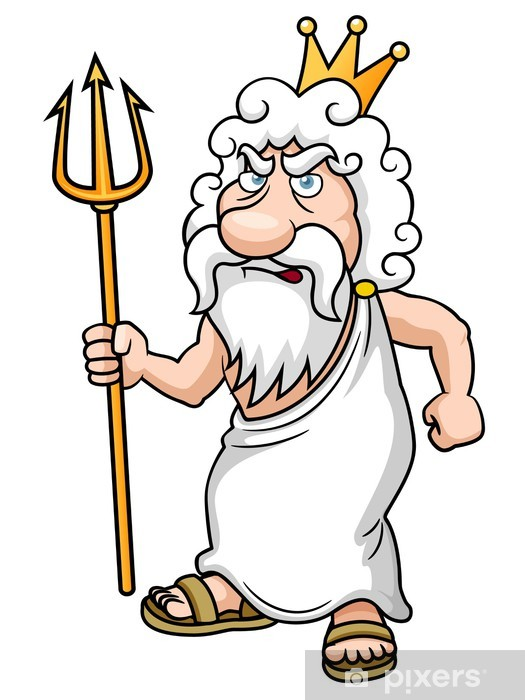 illustration of Cartoon Poseidon with Trident Pixerstick Sticker - Men