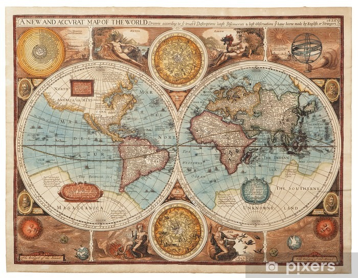 Old map (1626) Vinyl Wall Mural -