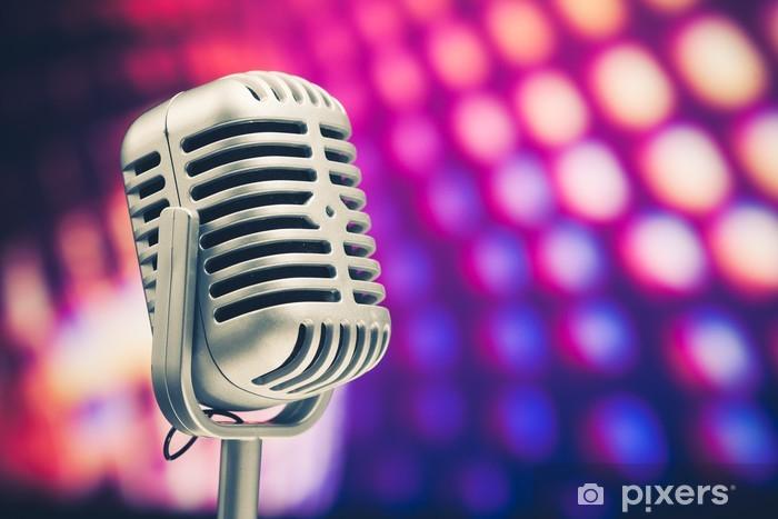 Fotomural Microfono Retro En El Fondo De Discoteca Purpura Pixers