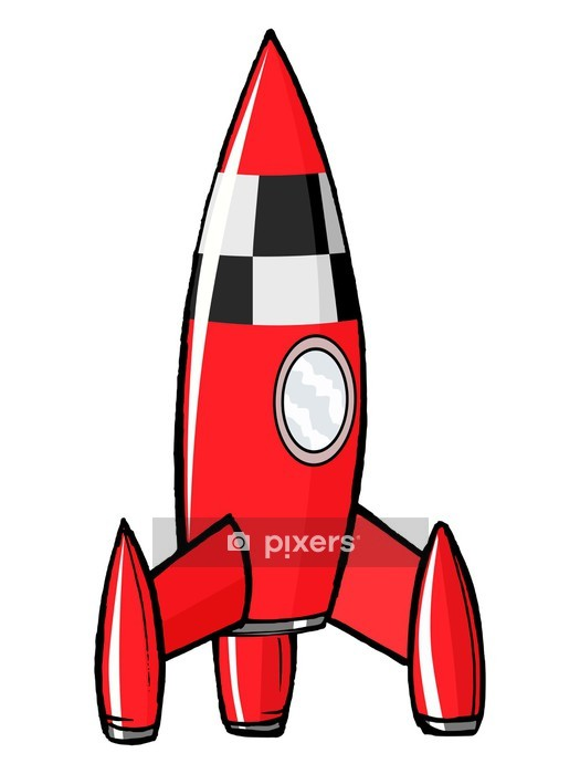 hand drawn, cartoon, vector illustration of toy rocket Wall Decal - Air