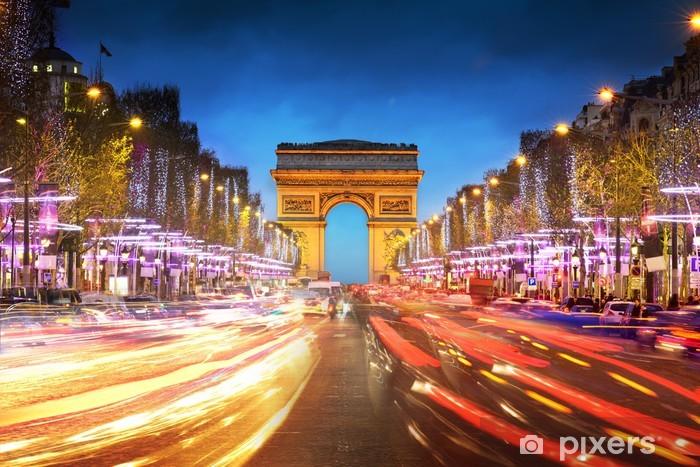 Vinylová fototapeta Arc de Triomphe Paris města při západu slunce - Vítězný oblouk - Vinylová fototapeta