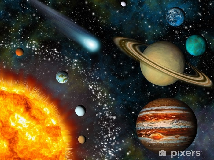 Realistic 3D Solar System Wallpaper Pixerstick Sticker - Universe