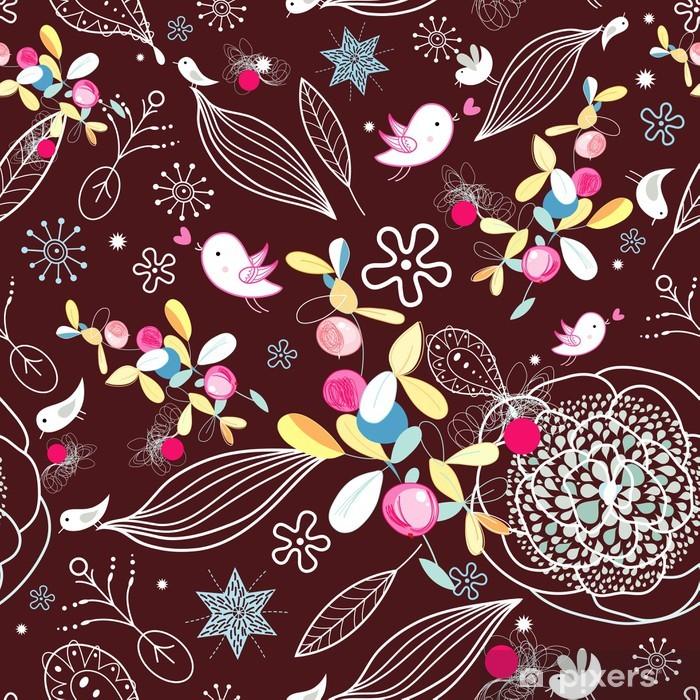 Poster Floral texture mit Vögeln - Texturen