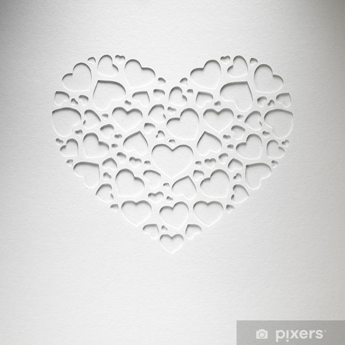 Pixerstick Aufkleber Valentinstag Herz aus kleinen Herzen auf Papier-Karte gemacht - Stile