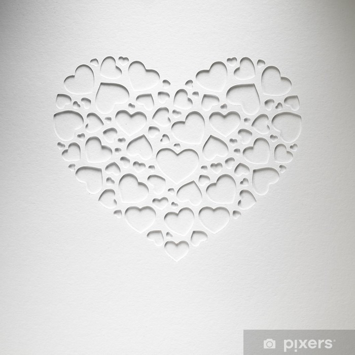 Valentine day heart made of small hearts on paper card Vinyl Wall Mural - Styles