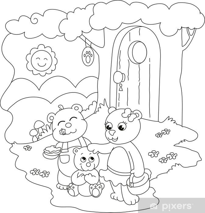 3 Sevimli Ayılar Küçük çocuklar Için çizime Boyama Duvar Resmi
