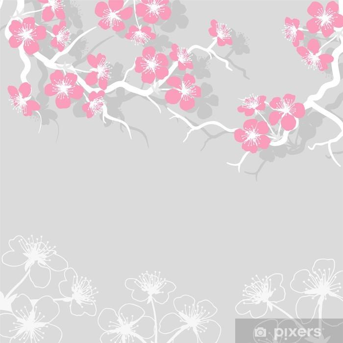 Naklejka Pixerstick Karty z stylizowane wiśni kwiat kwiaty. - Style