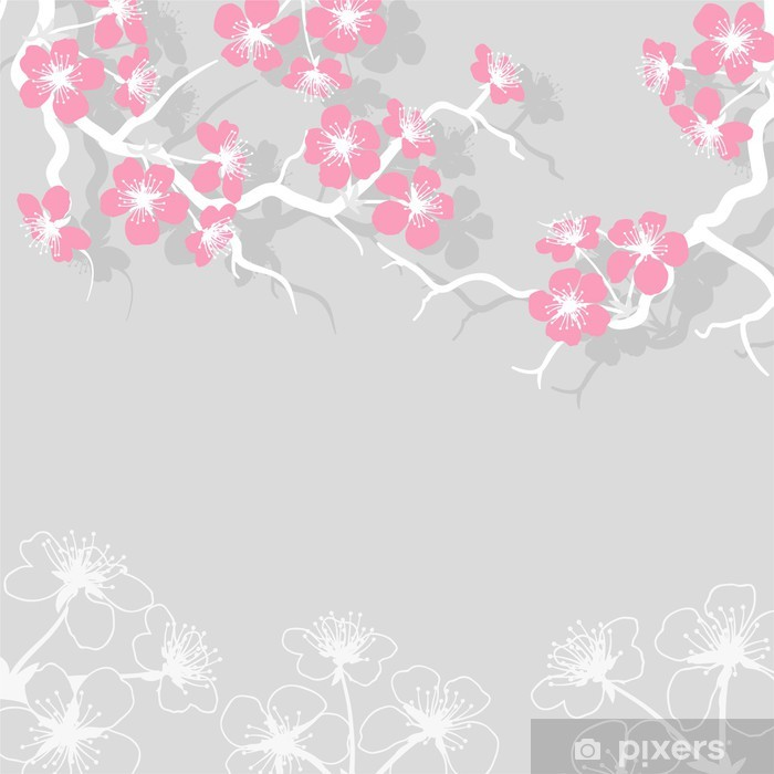 Card with stylized cherry blossom flowers. Vinyl Wall Mural - Styles