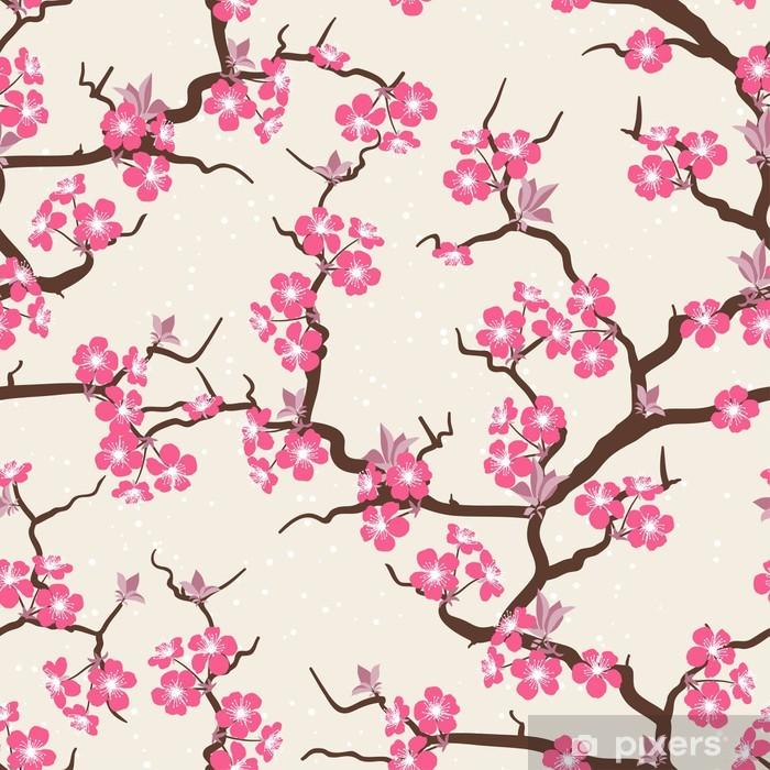 Poster Cherry blossom seamless de fleurs. - Thèmes
