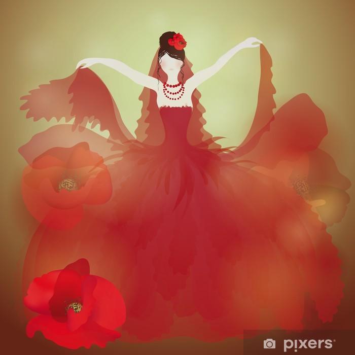 Sticker Robe Rouge De Mariage Femme De Charme Dans Coquelicots Pixers Nous Vivons Pour Changer