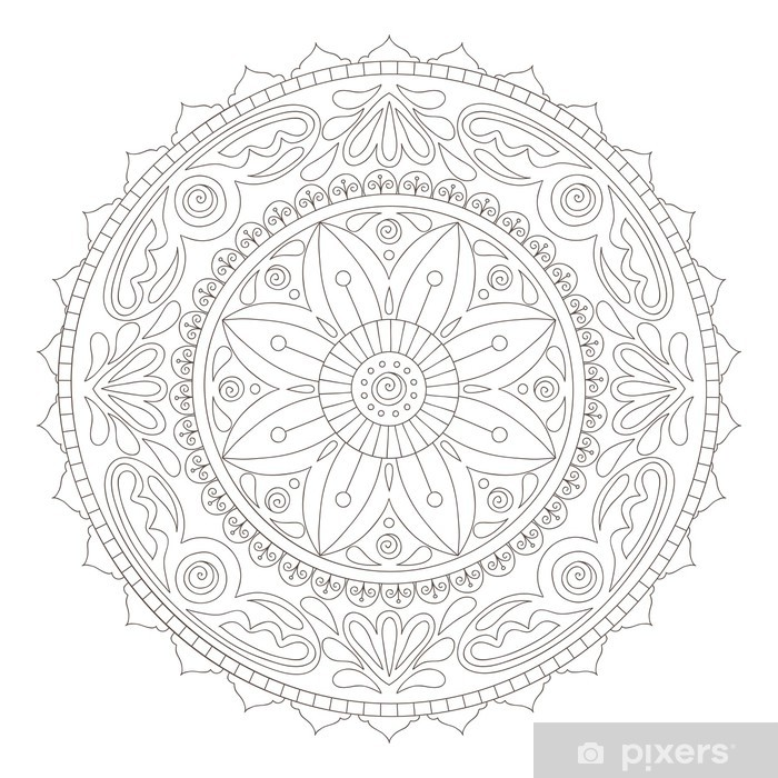 Adesivo Pixerstick Mandala di doodle - Adesivo da parete