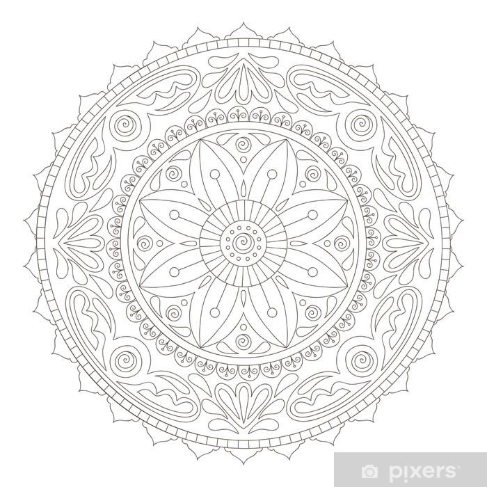 Papier peint vinyle Mandala doodle - Sticker mural
