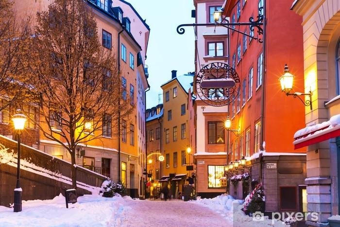 Papier peint vinyle Hiver dans la vieille ville de Stockholm, Suède - Europe