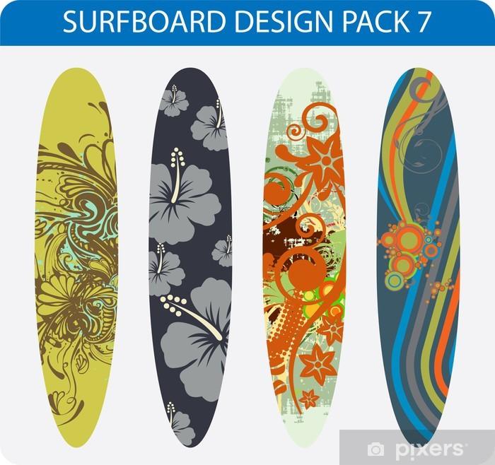 Sticker Pack De Vecteur De Quatre Dessins Colores De Planche De Surf Pixers Nous Vivons Pour Changer