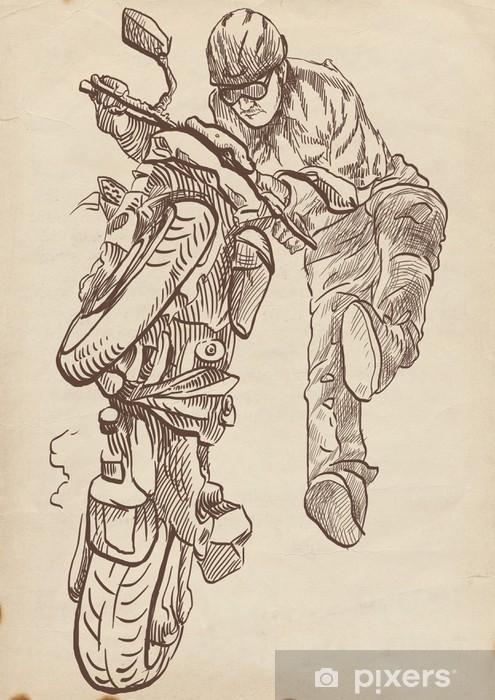 El çizimi Bir Motosiklet Dublör çılgın Duvar Resmi Pixers