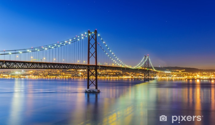 Night view of Lisbon and of the 25 de Abril Bridge, Portugal Pixerstick Sticker - Themes