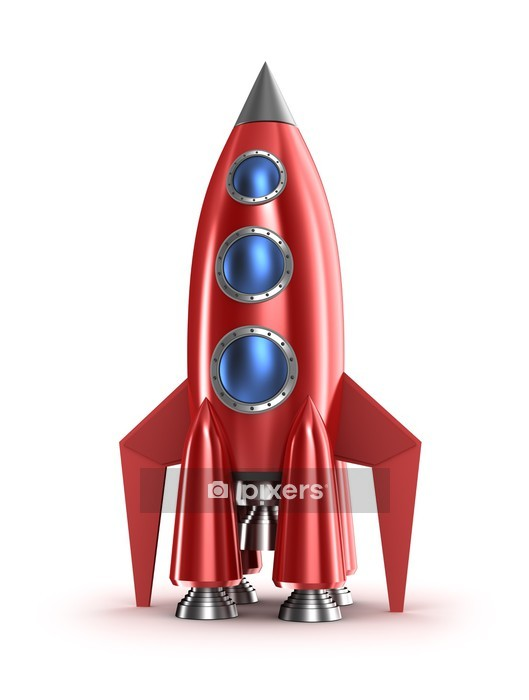 Retro red rocket concept. Isolated on white. Wall Decal - Outer Space