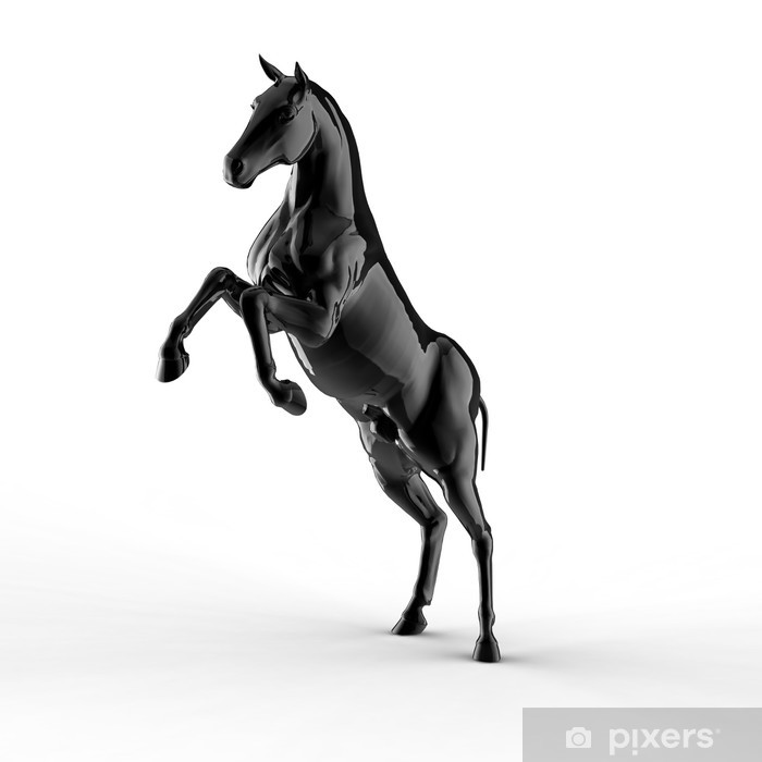 Illustration of a black horse isolated on a white background Wall ...