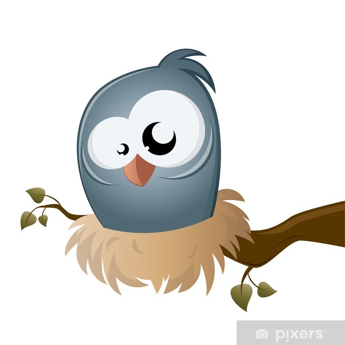 Sticker Pixerstick Vogel nest cartoon - Oiseaux