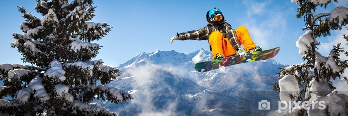 snowboarder in the trees Pixerstick Sticker - Winter