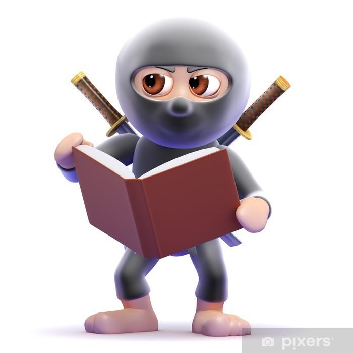 Naklejka Pixerstick Ninja czyta o technice - Edukacja