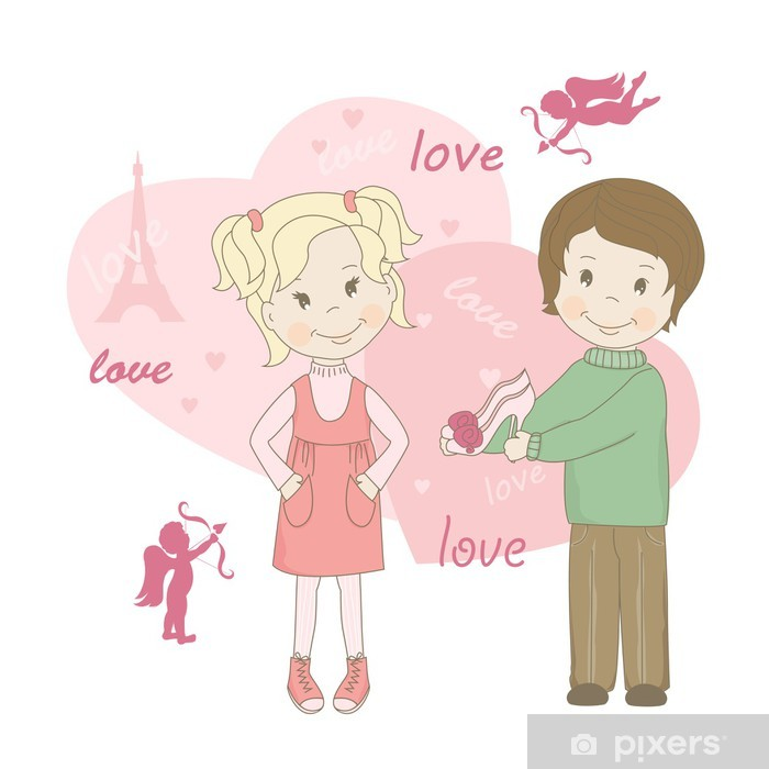 915c27ff7d01e0 Vinyl Fotobehang Meisje en jongen, Valentijnsdag wenskaart. -  Internationale Vieringen