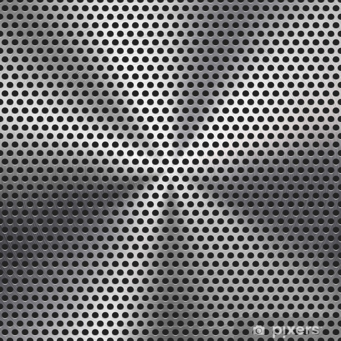 Seamless Circle Perforated Metal Grill Texture Poster