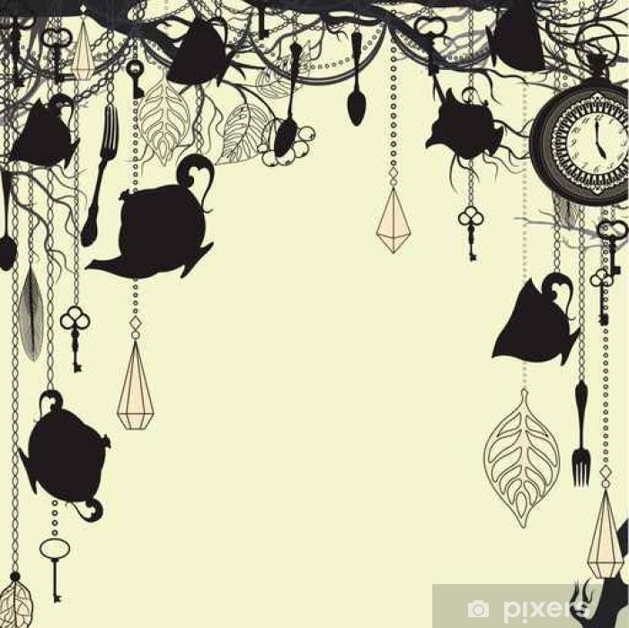 Plakat Antyk z tea party tematu - Tekstury