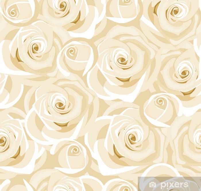 Poster Seamless roses blanches et des bourgeons. Vecteur. - Textures