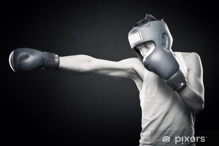 Sticker Pixerstick Jeune boxeur forte - Thèmes