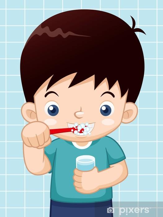 Adesivo illustrazione del ragazzo lavarsi i denti u pixers
