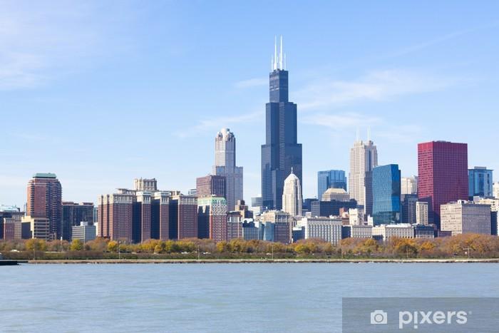 Fotomural Estándar Los rascacielos del centro de Chicago con el lago Michigan - América