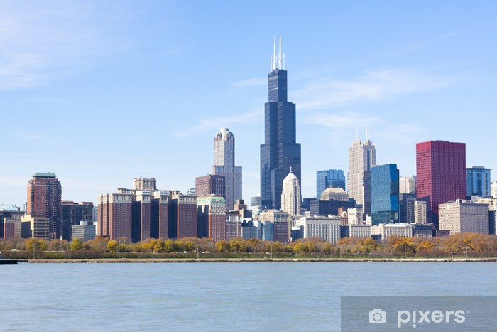 Chicago downtown skyscrapers with lake Michigan Vinyl Wall Mural - America