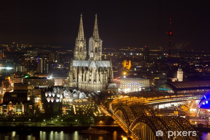 cologne cityscape at night Pixerstick Sticker - Europe