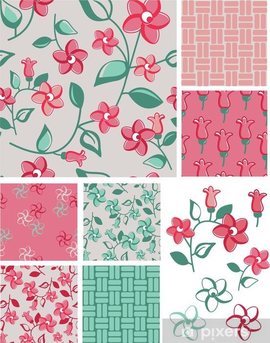 Sticker Pixerstick 1930 Inspired Patterns et les icônes vecteur floraux. - Mode