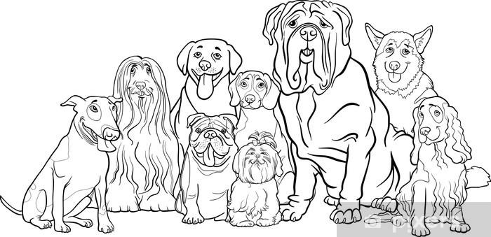 Fotomural Estándar Perros De Raza Pura Grupo De Dibujos Animados Para Colorear
