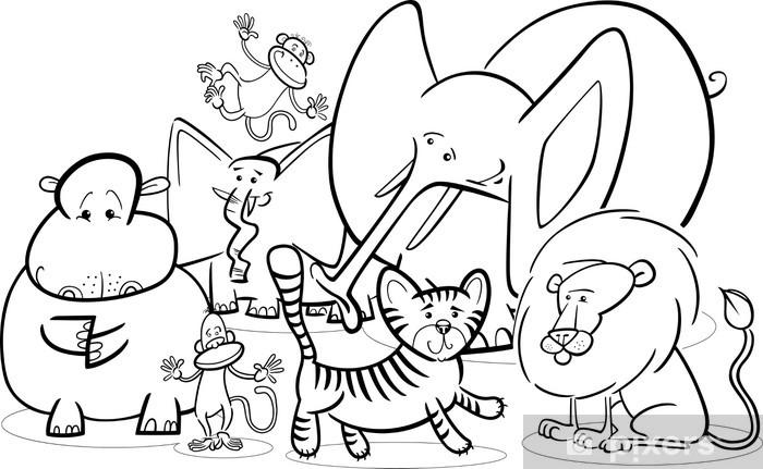 Vinilo Safari Africano Animales De Dibujos Animados Para Colorear Pixerstick