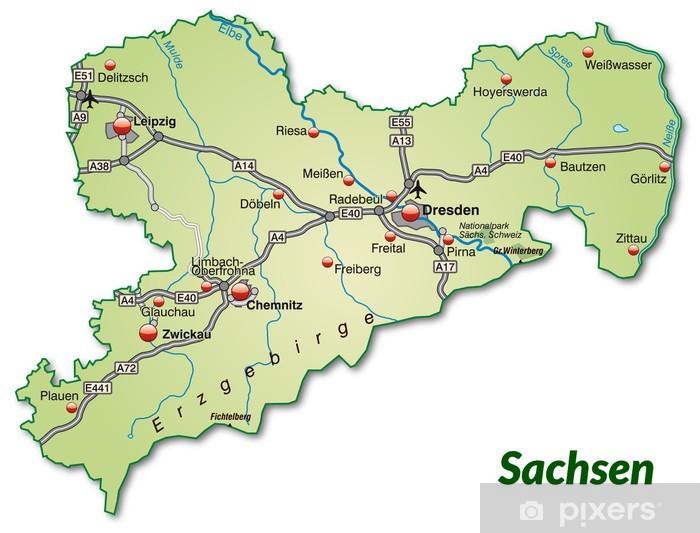 Landkarte Von Sachsen Mit Verkehrsnetz Wall Mural Pixers We