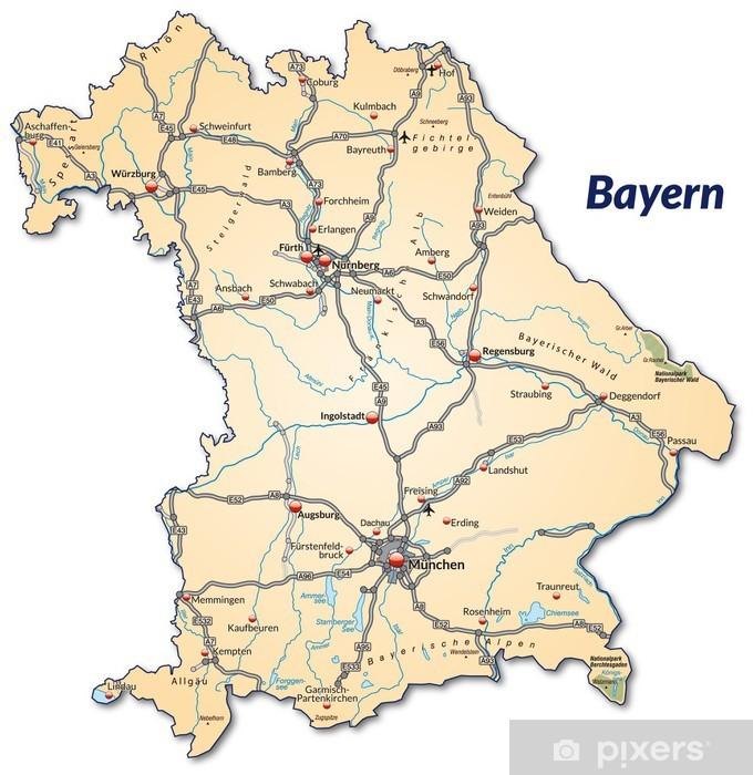 Landkarte Von Bayern Mit Verkehrsnetz Sticker Pixers We Live