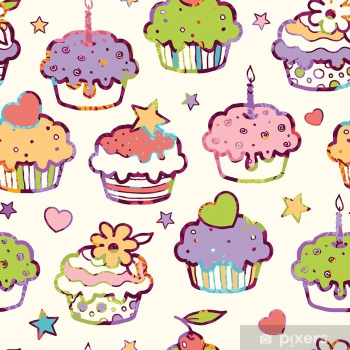 Papier peint vinyle Vectorielle parti coloré muffins seamless fond avec - Desserts et friandises
