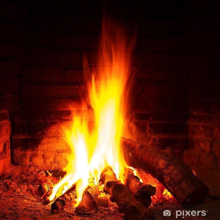 Cozy warm fireplace Pixerstick Sticker - Themes