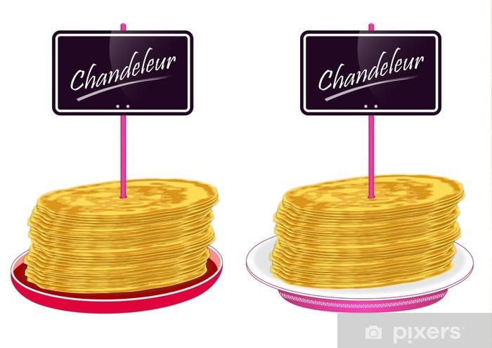 Vinilo Pixerstick Assiettes de crêpes avec pancarte - Chandeleur - Celebraciones