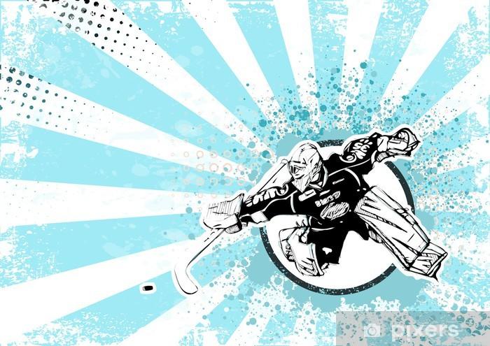 Nálepka Pixerstick Lední hokej retro plakát pozadí -