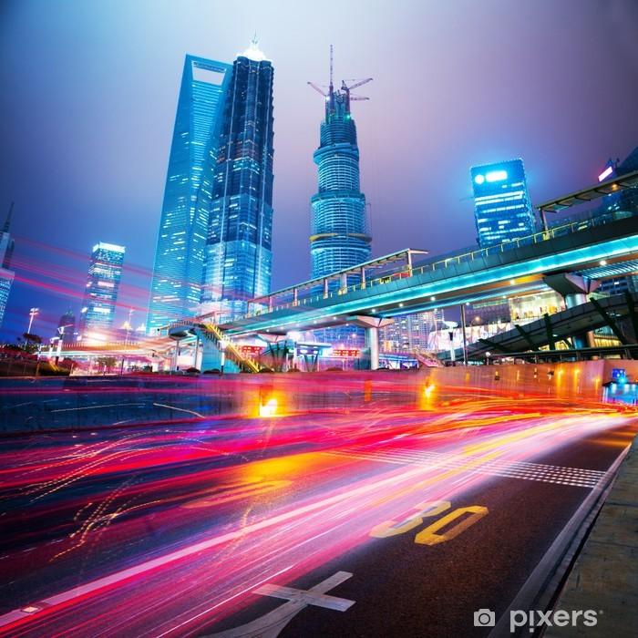 Sticker Pixerstick Scène de nuit de la ville moderne - Sur la route