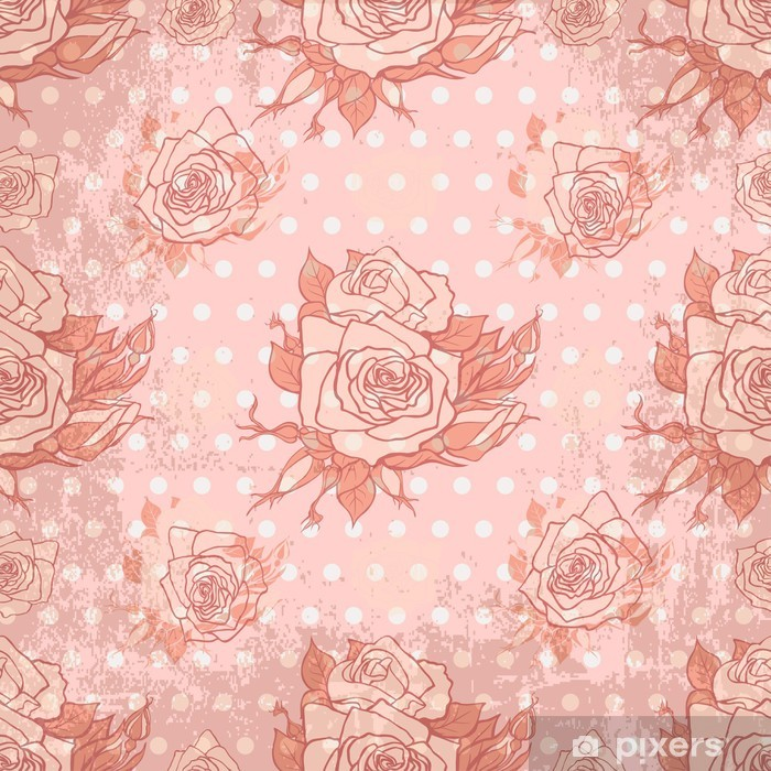 Vector Vintage Wallpaper With Seamless Rose Pattern Poster