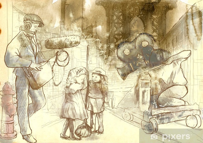 The whole crew filming a movie on the street with child actors. Vinyl Wall Mural - Themes