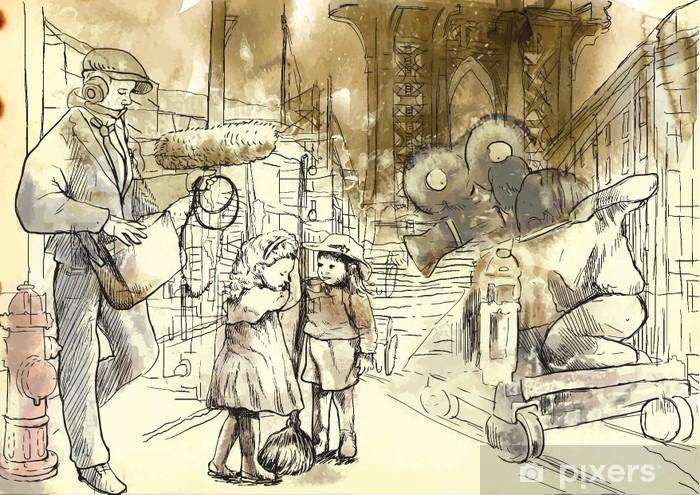 Papier peint vinyle Toute l'équipe du tournage d'un film sur la rue avec les enfants acteurs. - Divertissements