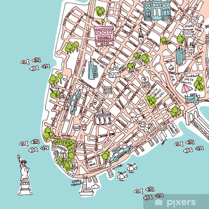 Saumaton New York Manhattan City Matka Kartta Kuvitus Tapetti